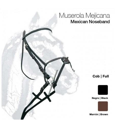 Cabezada de Montar Cuero con Muserola Mejicana 12