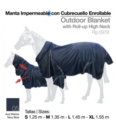 Manta Impermeable Cubrecuello Enrollable Azul