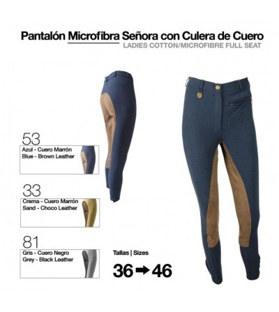 Pantalón Microfibra para Mujer con Culera de Cuero