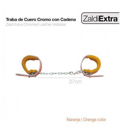 Traba de Cuero Cromo con Cadena Zaldi Extra