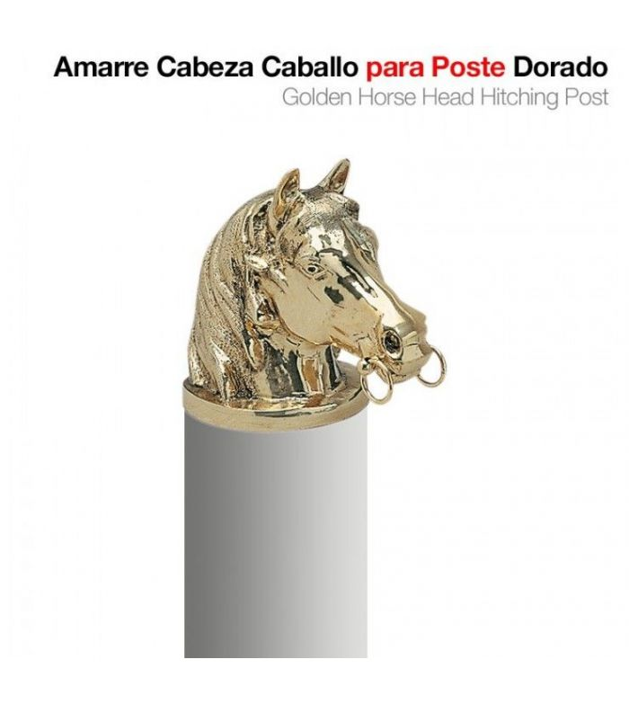Amarre Cabeza Caballo Dorado para Poste