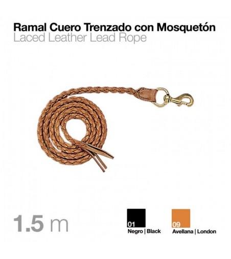 Ramal de Cuero Trenzado con Mosquetón 1,5 m