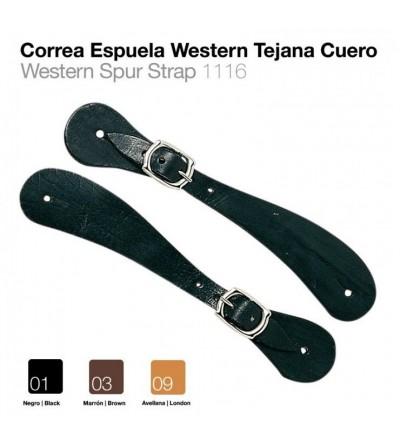 Correa Espuela Western Tejana Cuero Negra