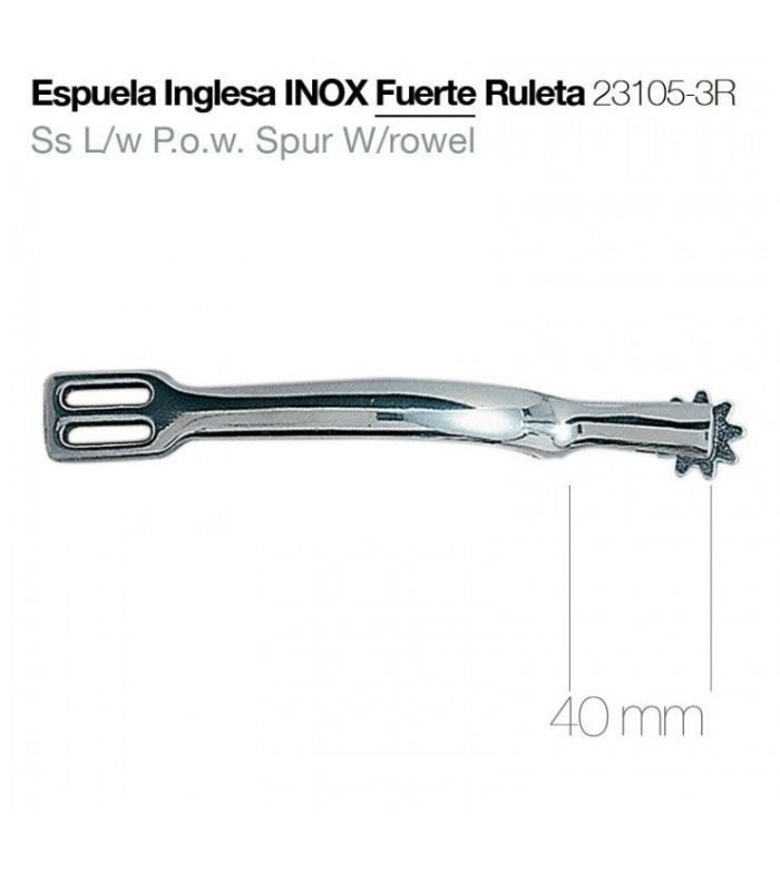 Espuela Inglesa InoxIdable Fuerte con Ruleta Gruesa 23105-3R