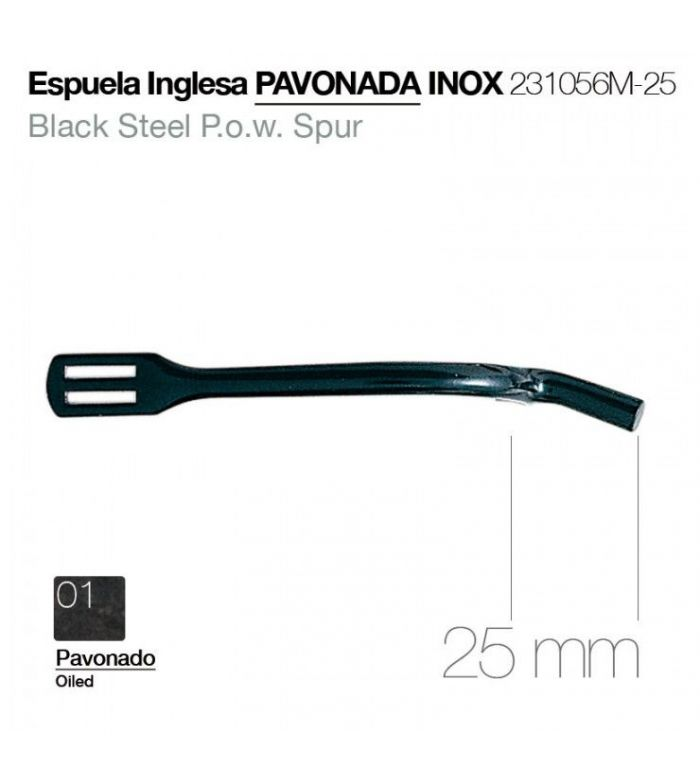 Espuela Inglesa Pavonada Inoxidable 25 mm