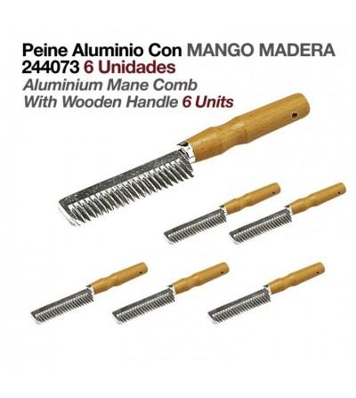 Peine de Aluminio con Mango de Madera (6 Uds)