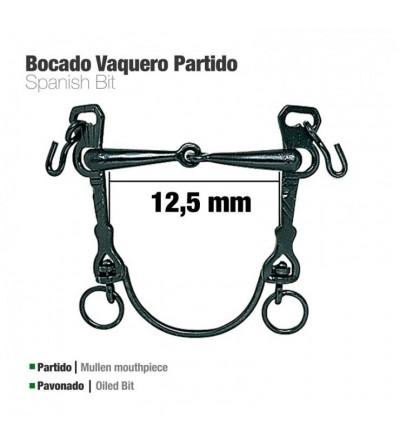 Bocado Vaquero Barra curva Partido Pavonado 12.5 cm