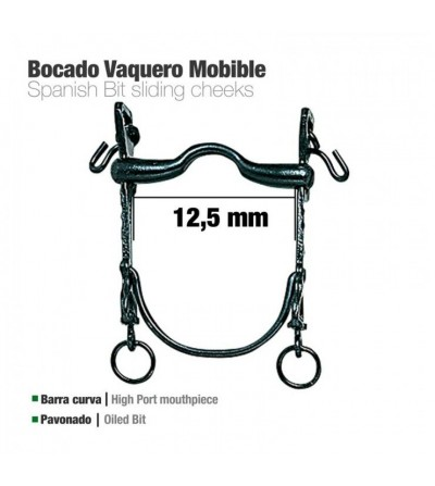Bocado Vaquero Barra curva Movible Pavonado 12.5 cm