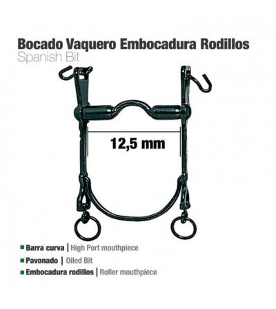 Bocado Vaquero Barra curva Embocadura Rodillos 12.5 cm