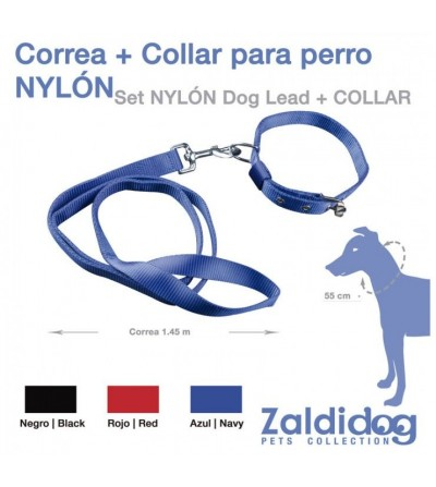 Perro Correa+Collar Nylon C980 1.45 m